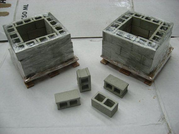 1:12 scale concrete building blocks cinder by BearMountainCrafts