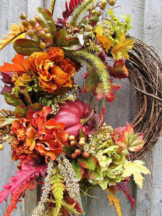 Fall Wreath Autumn Wreaths Pumpkin Wreath Thanksgiving