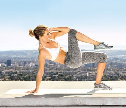 Twist & Tighten -- works transversus and rectus abdominis, obliques -- Sit with feet planted, right hand on ground about a foot behind right hip, left hand on head, elbow out; lift hips. Hold tabletop pose as you bend torso and raise right knee to touch left elbow over midsection