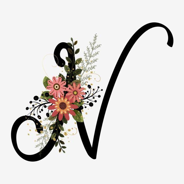 Alphabet Letter N With Flowers Vintage Lettering Alphabet Picture Letters Alphabet Letters Design