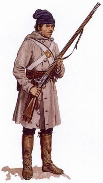 Militiaman, Lower Canada Sedentary Militia, 1813 This image of a Lower Canada Sedentary militiaman is based on the description of a British army surgeon, who encountered several regiments of Sedentary Militia in October of 1813. With the exception of his crossbelts and musket, issued by the British, everything this man wears is civilian clothing. Nevertheless, observers were impressed by the 'air of uniformity' of the militia's clothing. Reconstruction by Gerald A. Embleton.