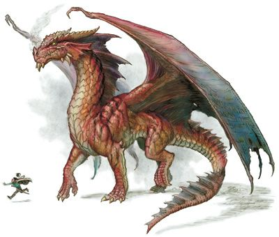 Red dragons are greedy and covetous, and obsessed with increasing their treasure hoards. They live in warm habitats, such as volcanoes or tropical islands. The red dragon's domain is is the mountain and the island. They are vain, cunning, and terrible.