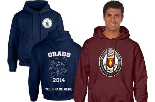 Graduates can show their pride with school branded, high quality fully customized Hoodies or T-Shirts.  A great way to go out in style!