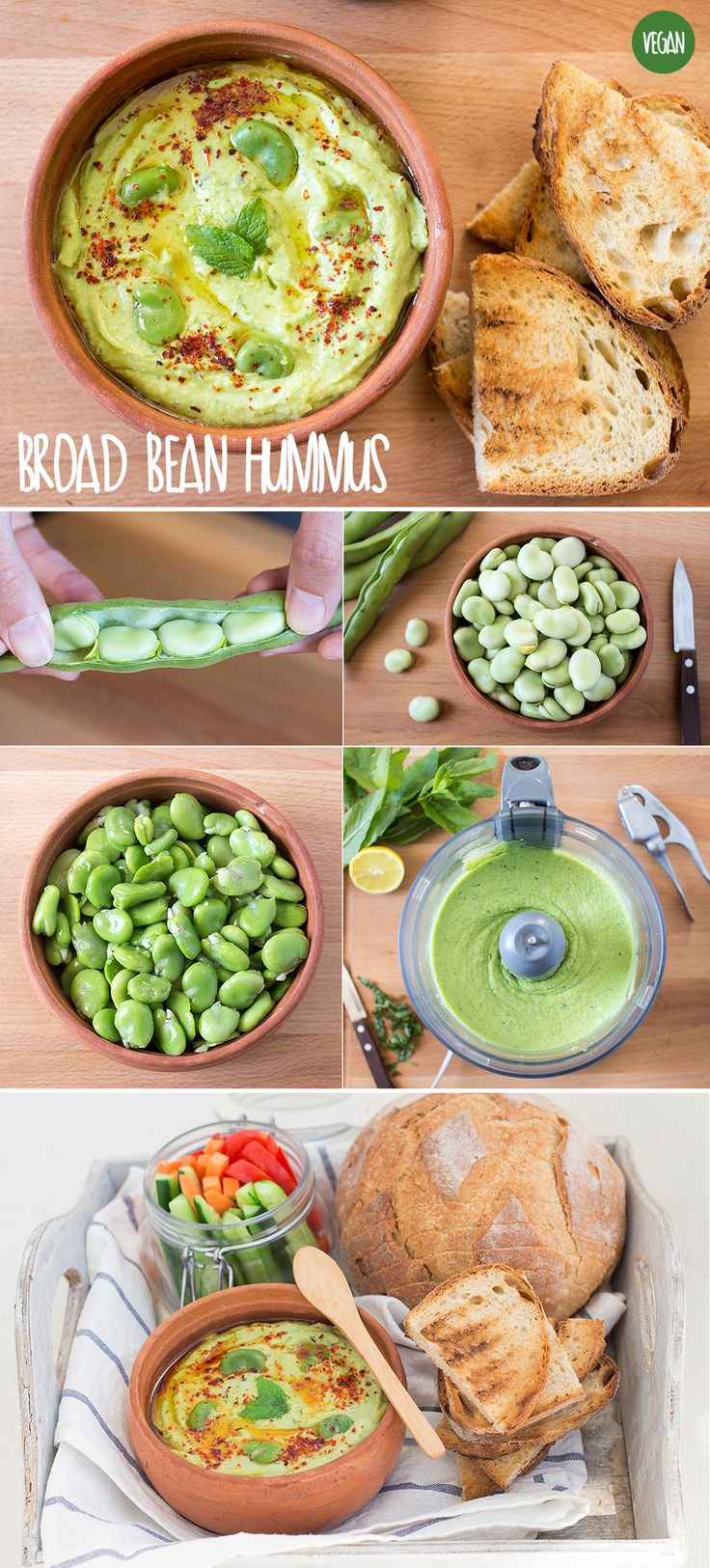 Delicious bread bean hummus. It's creamy, bright green and tastes super fresh…