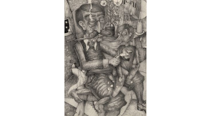 Dzepetto and Pinokio, rysunek ołówkiem na papierze, format A4 (21x29.7 cm), cena: 2700 zł