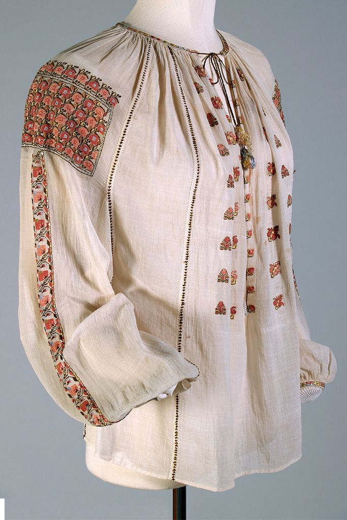 Fine white cotton blouse with silk embroidery, Romanian, ca. 1925-40, KSUM 1987.15.11. Princess Ileana of Romania Collection