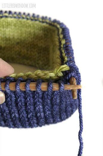 Super aconchegante duplo chapéu de aba tricô padrão