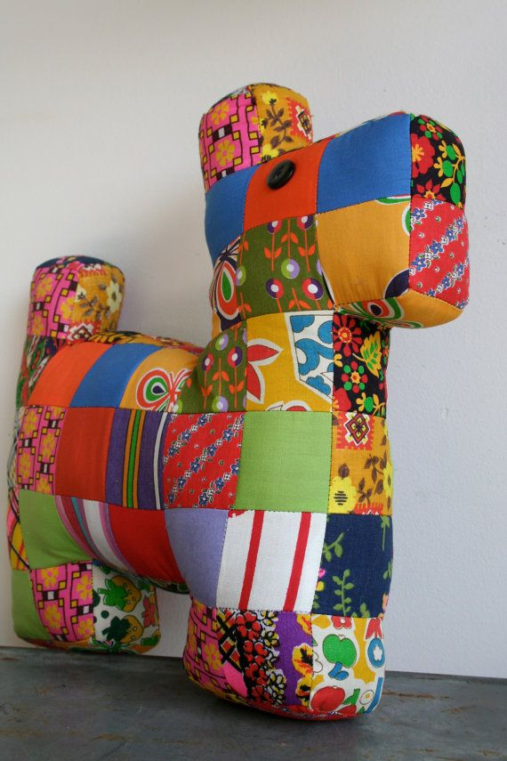 Vintage Patchwork Dog Stuffed Toy by holliewouldvintage on Etsy, $22.00