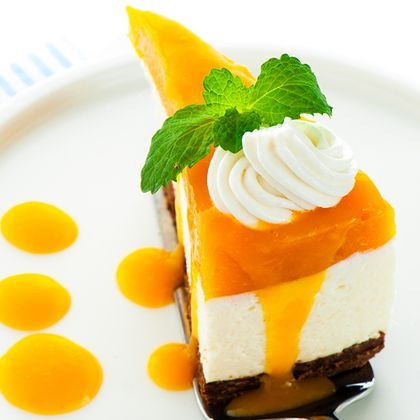 Mango Cheesecake With Oreo Crust.