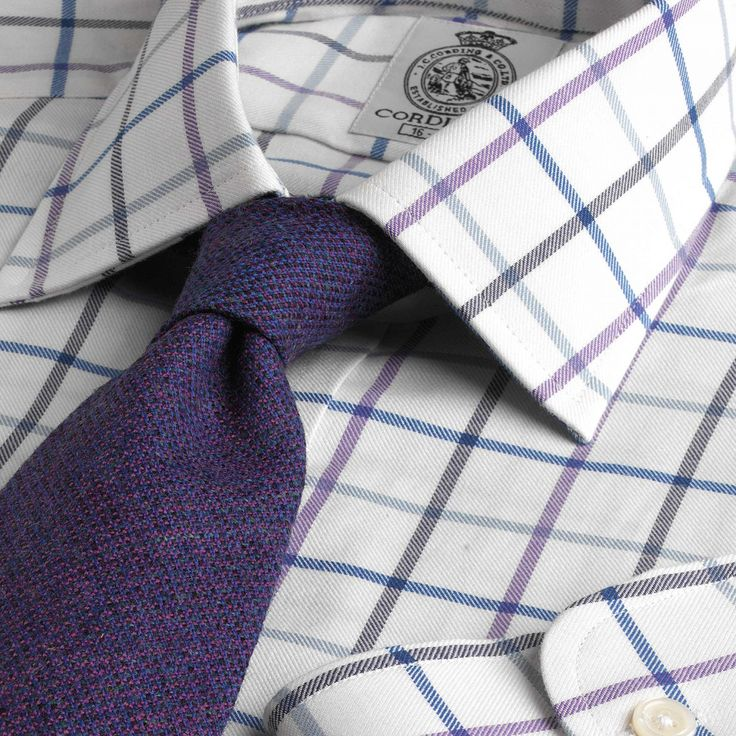 Cordings tattersall shirt: navy, lavender/violet, charcoal