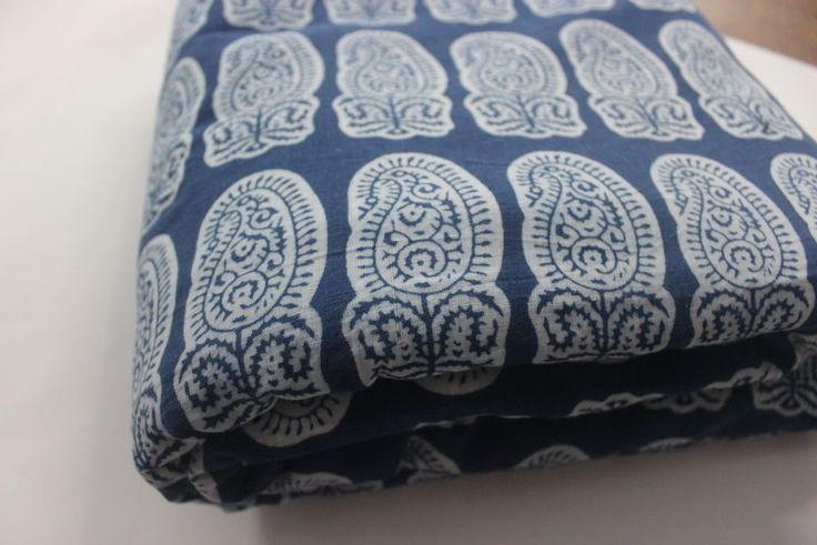 Indian Hand Block Print Fabric 100% Cotton Natura indigo Dyed Floral By the Yard #KhushiHandicraft