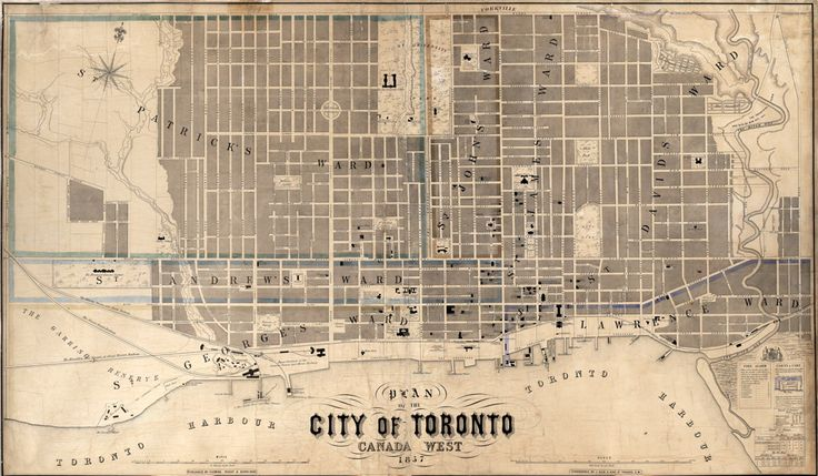 1857 Fleming Ridout & Schreiber Plan of the City of Toronto. This map shows the boundaries of the city, all streets, ward boundaries, parks and some notable buildings. Printed at the edges of the map is information concerning fire alarms and cab districts and fares.  Both Sandford Fleming and Collingwood Schreiber were railway engineers as well as surveyors, so it is no surprise their map is the benchmark for recording the railway building in the 1850s.