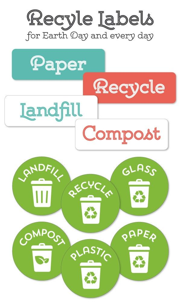 EARTH DAY: Recycle Labels for your Home Office recycling center by @liag Free Printable