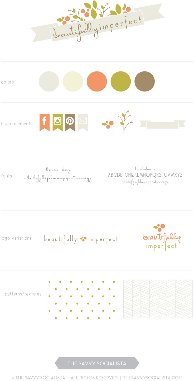 Brand board for Beautifully Imperfect, created by The Savvy Socialista.