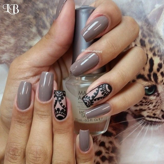 Taupe and Black rose lace nail art Lucinha Barteli @lucinhabarteli | Websta