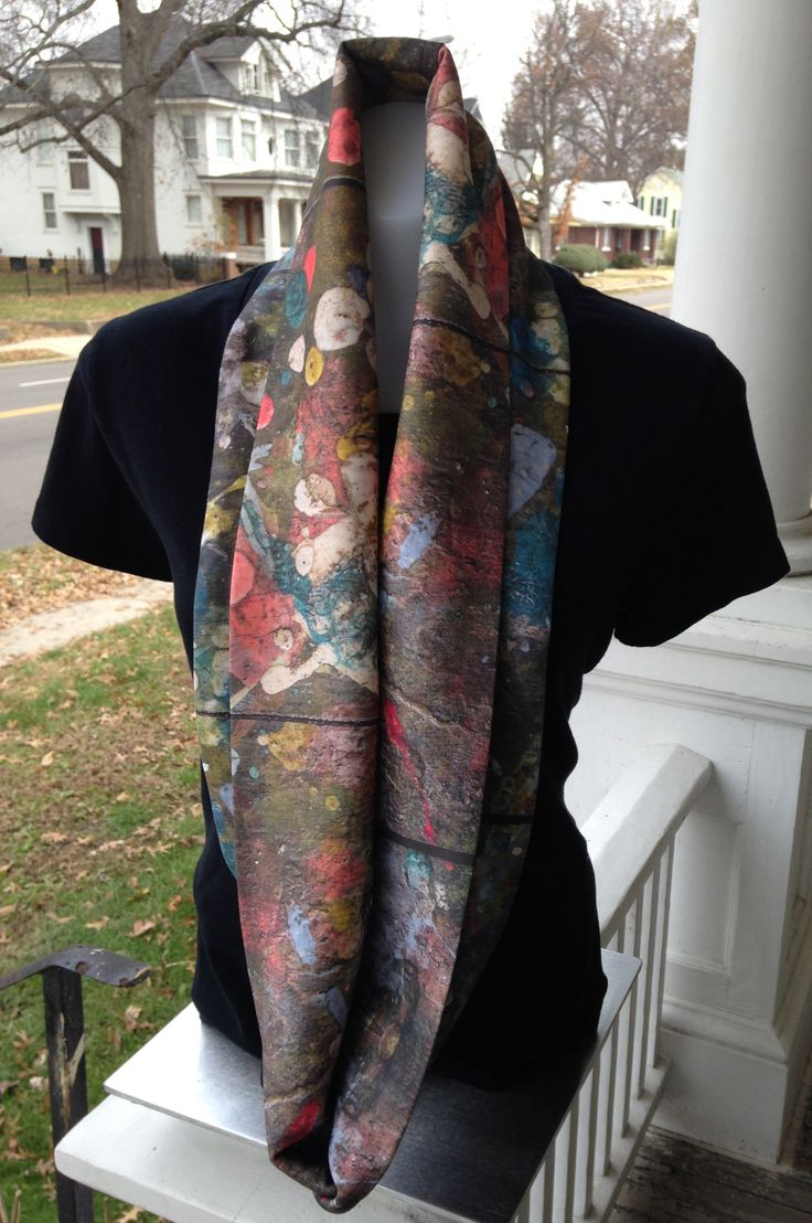 Organic cotton knit infinity scarf inspired by the paint splattered floor in the Little House.  Scarf can be worn a number of different ways.  Great when paired with a solid color.  $68.  Machine wash mild in cold water and lay flat to dry to keep colors crisp.