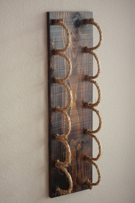 Wall Wine Rack Holds 6 Bottles With Rope Cradles Also Referred To As Our Rope Ladder Wine Rack This 6 B Wine Rack Wall Rustic Wine Racks Rustic Wine Bottle