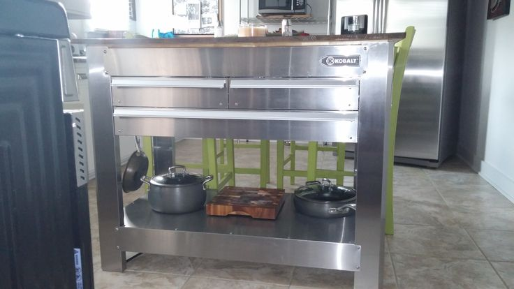 Kitchen Island made from a Kobalt tool box. I wanted a square island and this is perfect. LOVE IT!!!