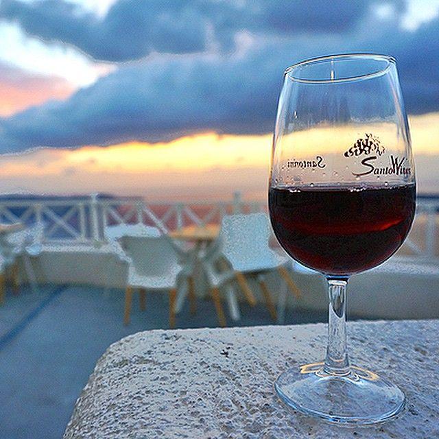 #Wine #Sunset and #Santorini! Photo credits: @grrrltraveler