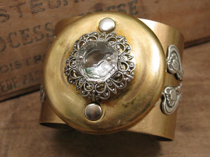 Bracelets For Ladies  :    Upcycled Jewelry – Repurposed Door Knob Escutcheon Antique Brass Cuff Bracelet  - #Bracelets  https://talkfashion.net/acceseroris/bracelets/bracelets-for-ladies-upcycled-jewelry-repurposed-door-knob-escutcheon-antique-brass-cuff-bracelet/
