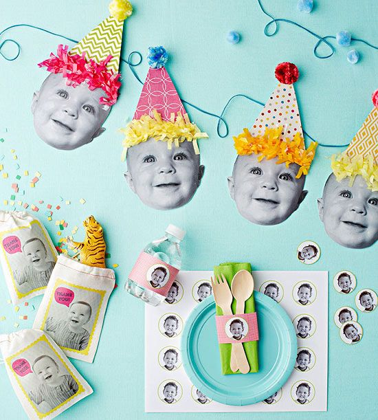 Use your favorite pictures of your baby to create these too-cute party decorations for their first #birthday!