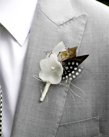 A dashing black and white feathered boutonniereFeathers Boutonnier, Diy Boutonnier, Polka Dots, Grey Suits, Fabrics Flower, Wedding Ideas, Black White, Boutonnier Polkadot, The Brides