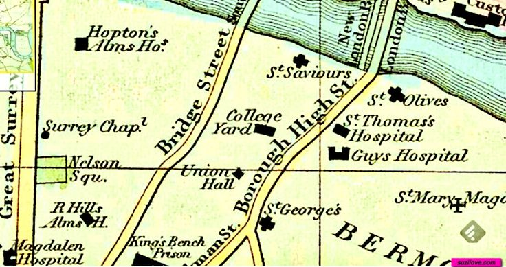 1828   Map of London By Philip Horatio. Hospitals: St.Thomas's and Guy's Hospital, Magdalen Hopton Alms House, St. George's Church. suzilove.com