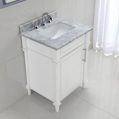 Home Decorators Collection Aberdeen 24 in. W x 20 in. D Vanity in White with Marble Vanity Top in White-8103200410 - The Home Depot
