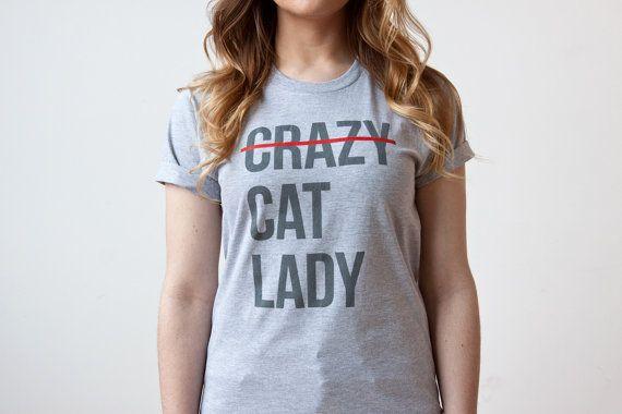 Cat Shirt Crazy Cat Lady T Shirt Screen Printed by HouseOfCat