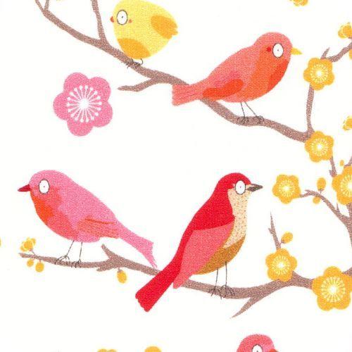 """Tissu """"Petits oiseaux"""", Collection capsule Mme Mo pour les Trouvailles d'Amandine. pour les créations sur mesure Milie Dots: couverture bebe, tour de lit, boutis, gigoteuse, sac de change, édredon en laine, tapis d'éveil et tapis de chambre, etc http://www.miliedots.com/#!les-creations-sur-mesure/c1cgr"""