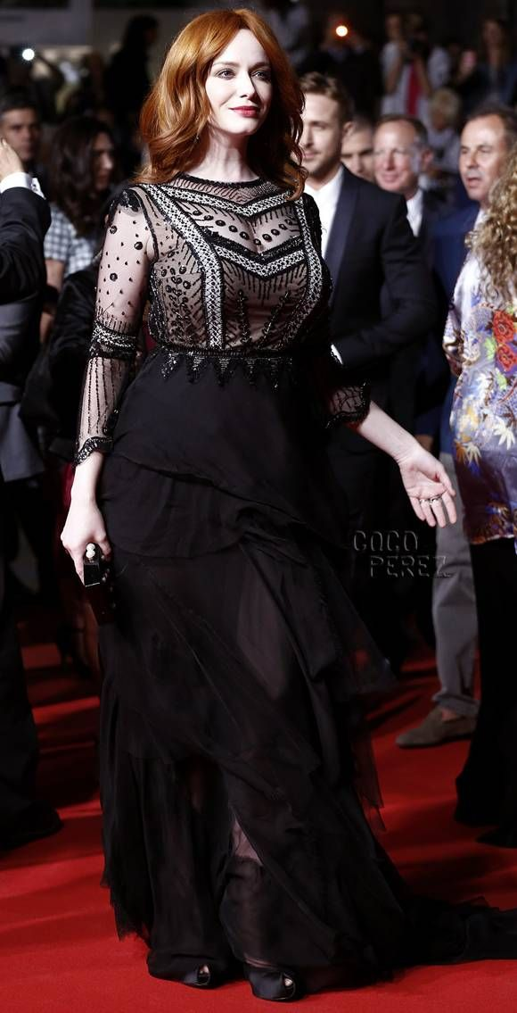 #christinahendricks lost river cannes main.  Fabulous bodice and her makeup is flawless.  Very difficult to find a curvaceous cut that works when proportions are extreme. Love her. So beautiful.