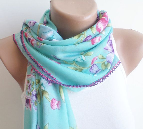 scarfstylish accessory Blue thin scarf women by BloomedFlower, $22.00