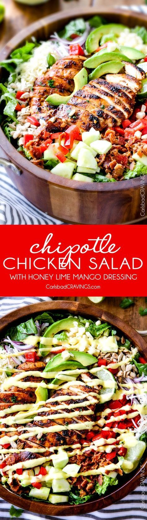 Chipotle Chicken Salad with Honey Lime Mango Dressing – I actually CRAVE this salad its so good! The chipotle chicken is super juicy and flavorful with just the right amount of kick and the mango dressing is so sweet, tangy and refreshing and I love the addition of Monterrey Jack Cheese and sunflower seeds! My friends always ask me to make this for them!