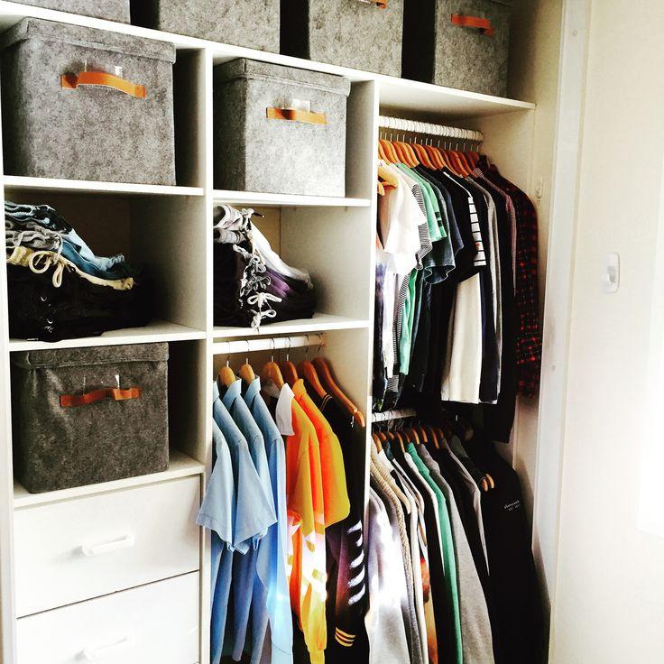 Teenage boys wardrobe closet, Styled & Organised by us.  Inthecloset_styling #inthecloset #organisingwardrobes #changingrooms #interiorstyling