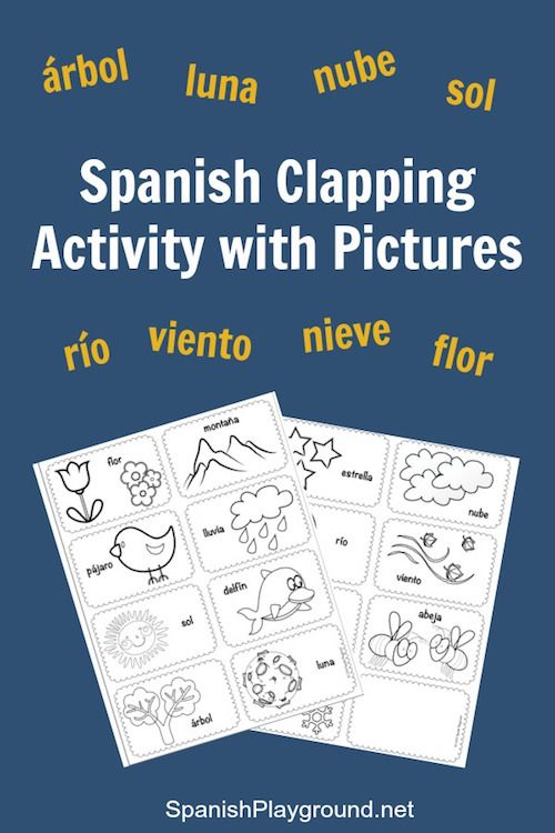 Spanish syllables: clapping activity. Rhythm and word stress are an important part of correct pronunciation. This Spanish activity uses picture cards and clapping to practice Spanish pronunciation. Free printable Spanish picture cards included in the post on Spanish Playground. #Spanishforkids #Spanishlearning http://spanishplayground.net/spanish-syllables-clapping-pictures/