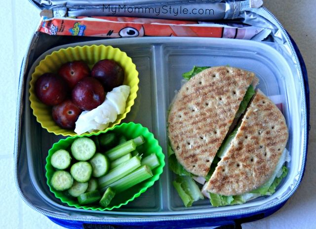 Turkey sandwich, celery, sliced mini cucumbers, awesome plums from our tree (they are so tiny we've nick named them grape plums), gogurt, and coconut.