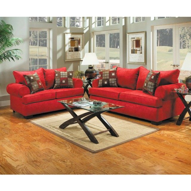 The red living room set in this room adds a designer and colorful look to this clean room.  #interiordesign #homedecor #livingroom #americanfurniturewarehouse #americanlifestylefurniture #afwonline #design #style #accentpieces #arearug #coffeetable #color