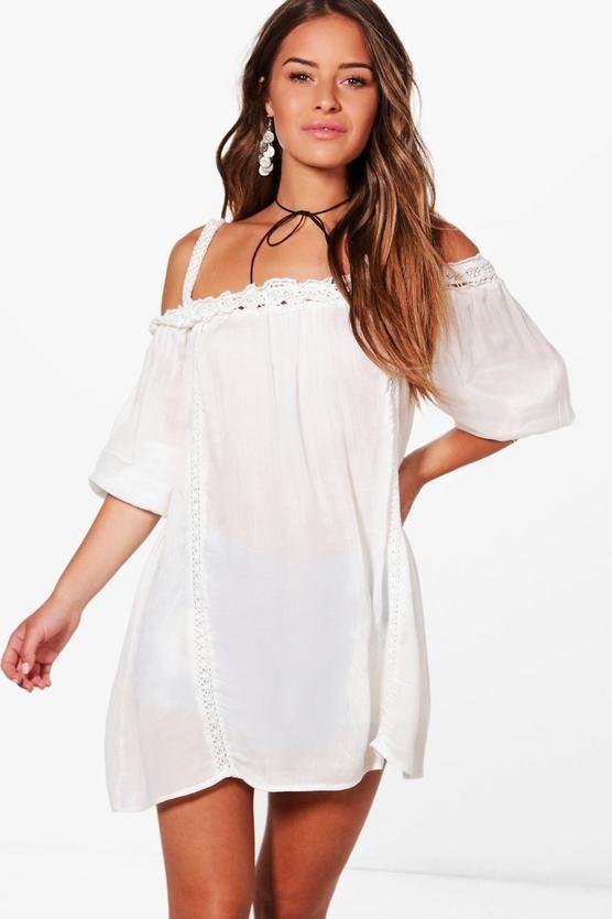 Petite Sophie Boho Lace Cold Shoulder Dress