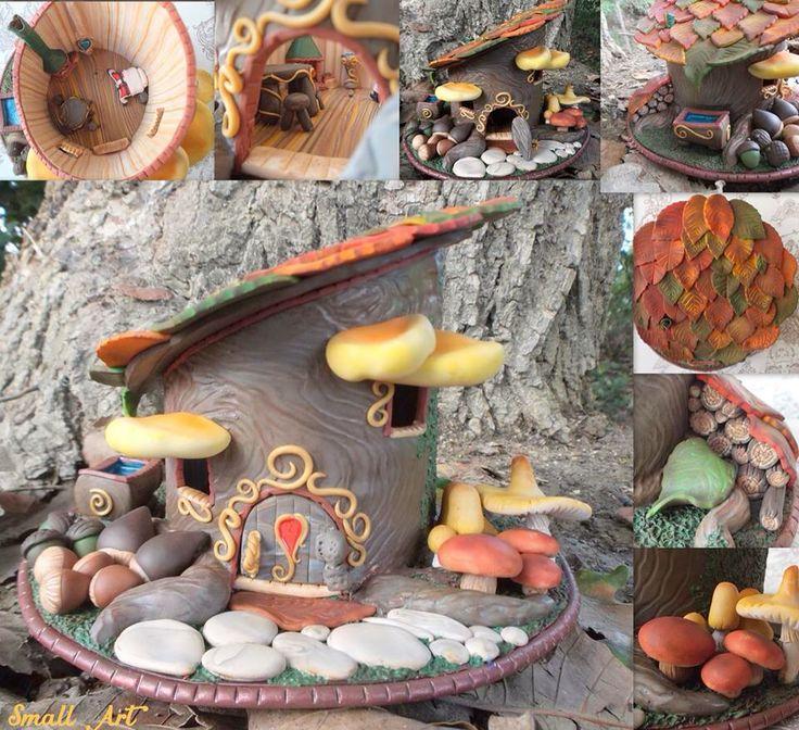 Casa nel bosco - gnome's house - casa degli gnomi - polymer clay creation - polyclay