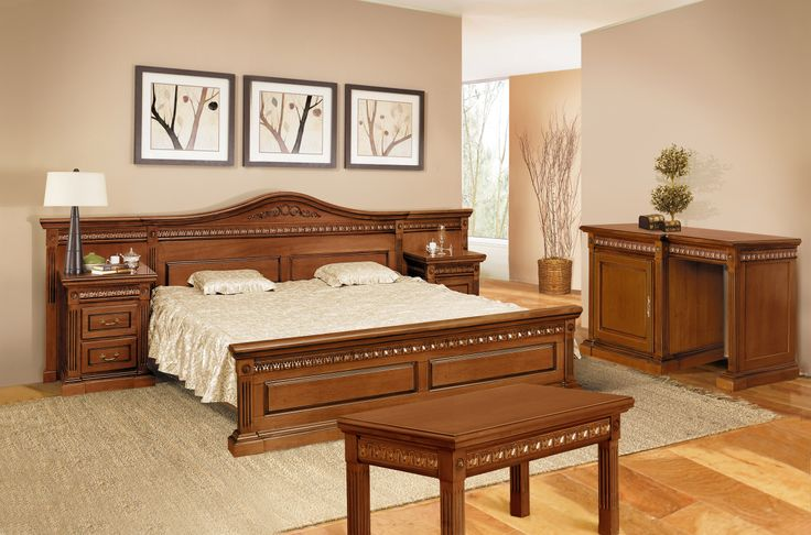 Mobila / Mobilier Dormitor clasic lemn masiv Vanda - pat , noptiere, comoda  | RON0.00 | #mobilena.ro