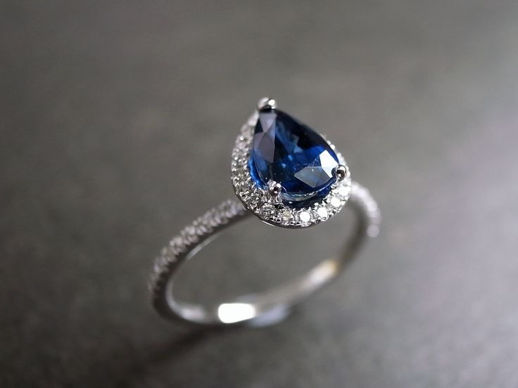 Pear Cut Blue Sapphire Diamond Engagement Ring by honngaijewelry, $1,220.00