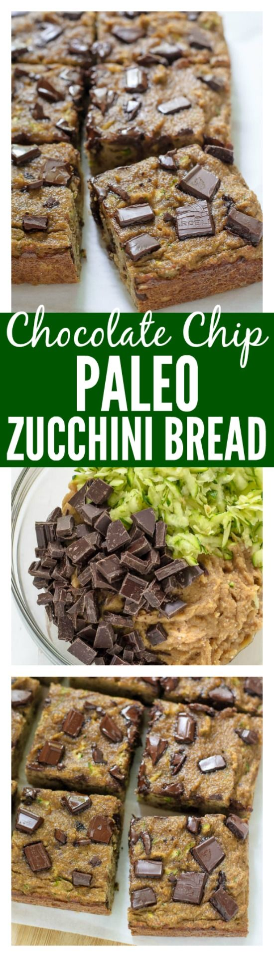 Chocolate Chip Paleo Zucchini Bread. Grain free, dairy free, and naturally sweetened!  #paleo #dairyfree #grainfree #cleaneating