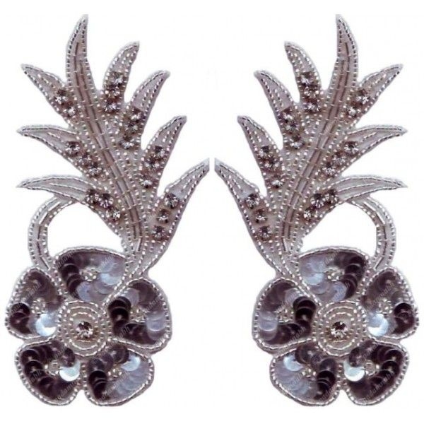 Glass Beaded Sequin Rhinestone Applique Pair