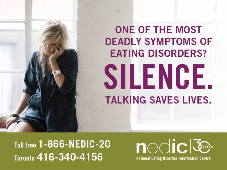 NEDIC hosts Canada's only toll-free helpline dedicated to eating disorders. Support, understanding and referrals are only a phone call away. 1-866-NEDIC-20 (416-340-4156 in Toronto)