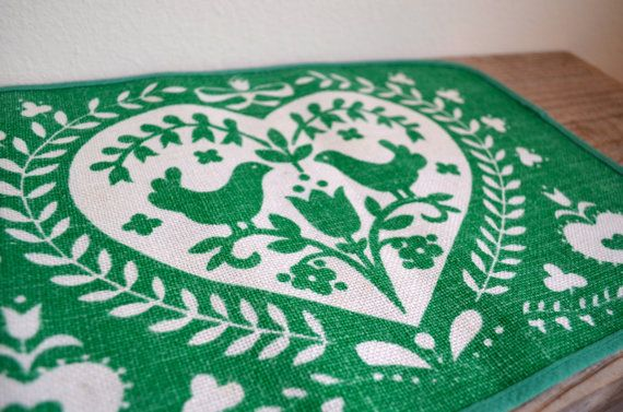 Set of 4 German Folk Art Placemats in Mint or by DSVintageShop, $24.99