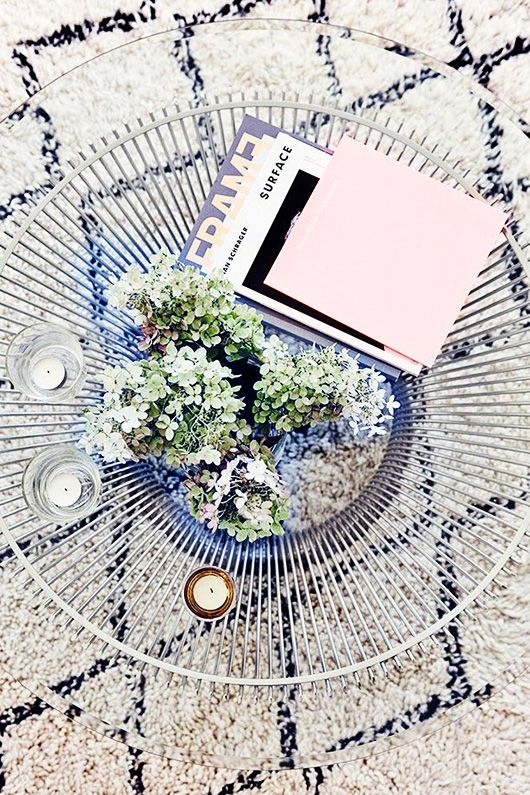 coffee table from above -- perfect styling, textures and colors