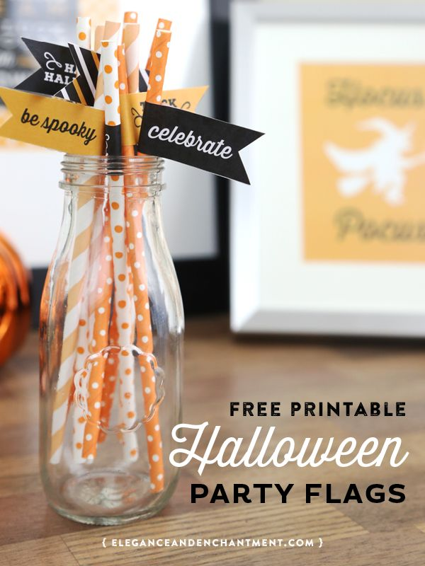 Free Printable Halloween Party Flags- eight different designs to use for appetizers, desserts, cupcakes, straws or drink stirrers. An easy DIY way make your Halloween party a little more festive! Designs by Elegance and Enchantment.