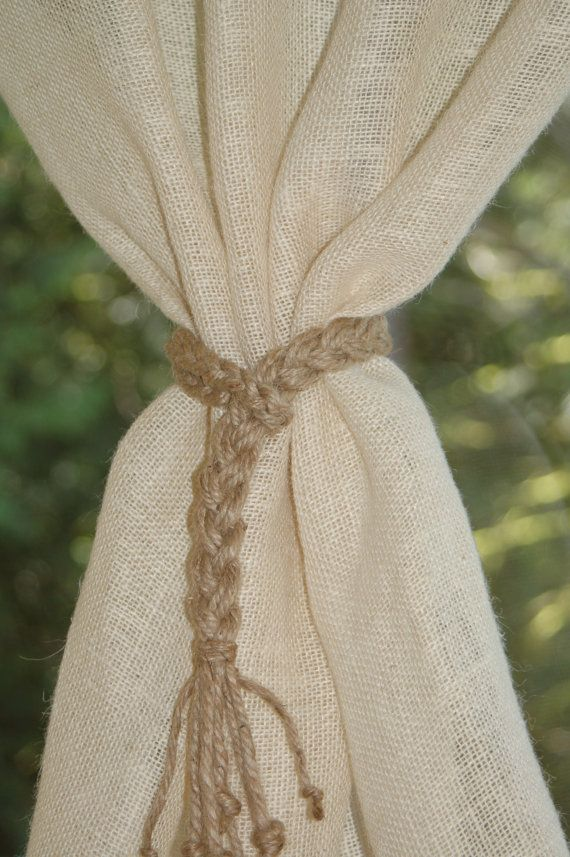 Braided natural jute curtain tie back s Rustic by MountBlossom
