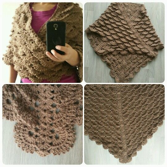Crochet shoulder wrap with shell stitch. This pattern is available on ...