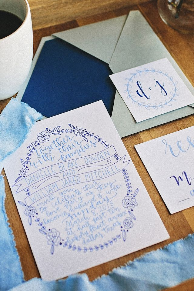 Blue wedding invitations   K&S Snapshots   see more on: http://burnettsboards.com/2015/03/sunday-kind-love-brunch-wedding-editorial/